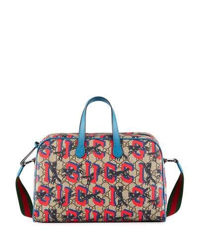 e5505b4157e2 Gucci Kids' Wolves-Print GG Supreme Shoulder Bag | Products | Gucci ...