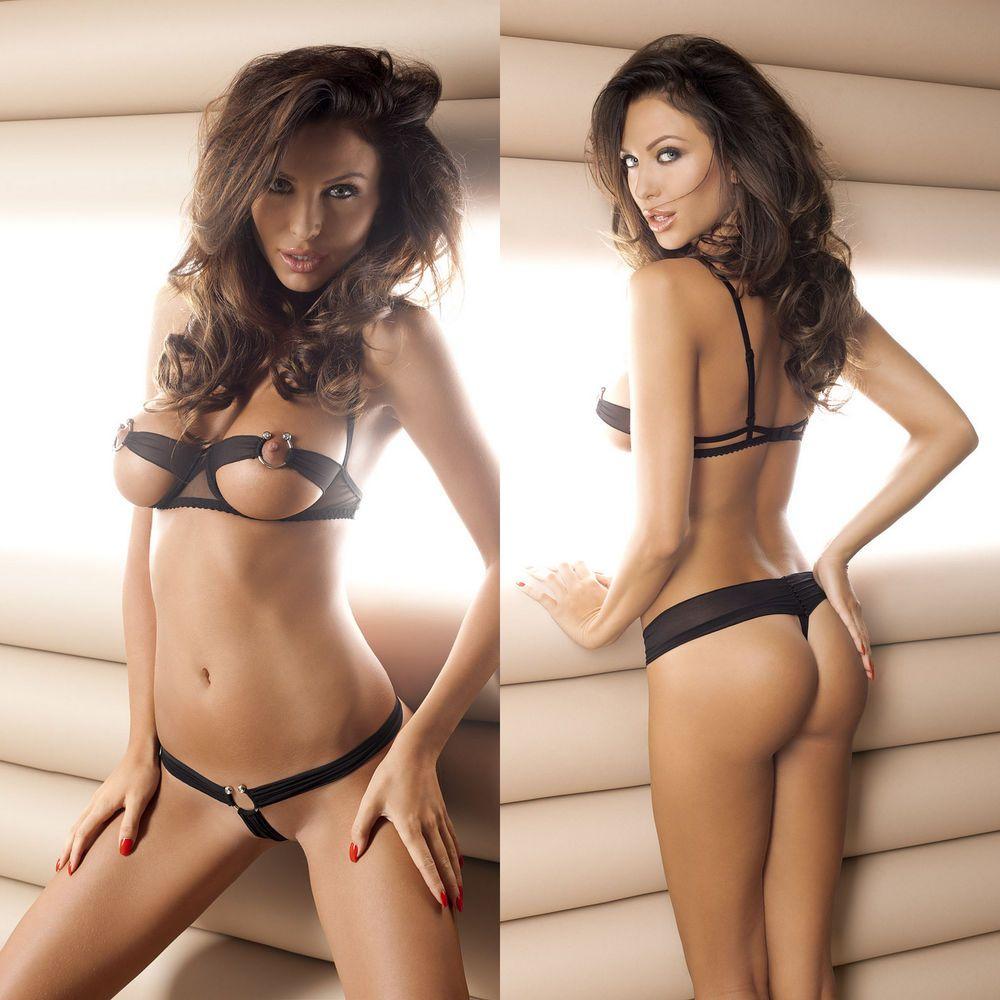6939f505bb Ensemble sexy lingerie noir femme soutien gorge & string ANAIS CHLOE SET S  M L