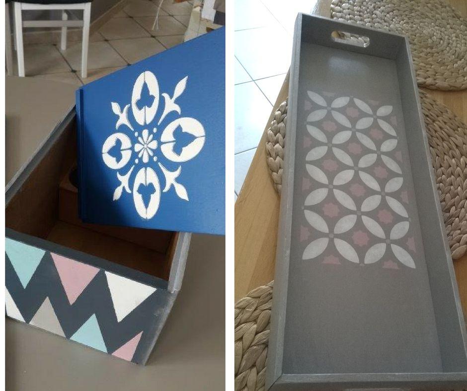 pochoir carreau ciment eleonore deco cache pot et plateau. Black Bedroom Furniture Sets. Home Design Ideas