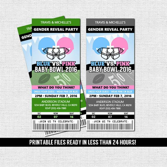 GENDER REVEAL TICKET Invitation Football Baby Shower Party + Diaper