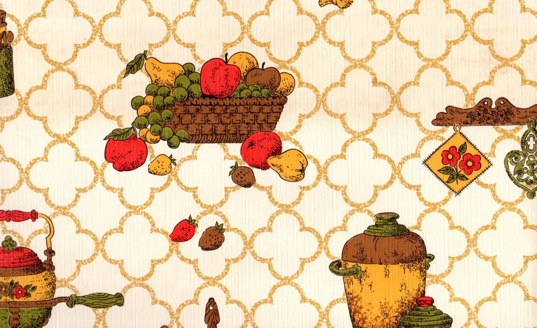 1970s Retro Kitchen Wallpaper, Vintage Basket of Fruit