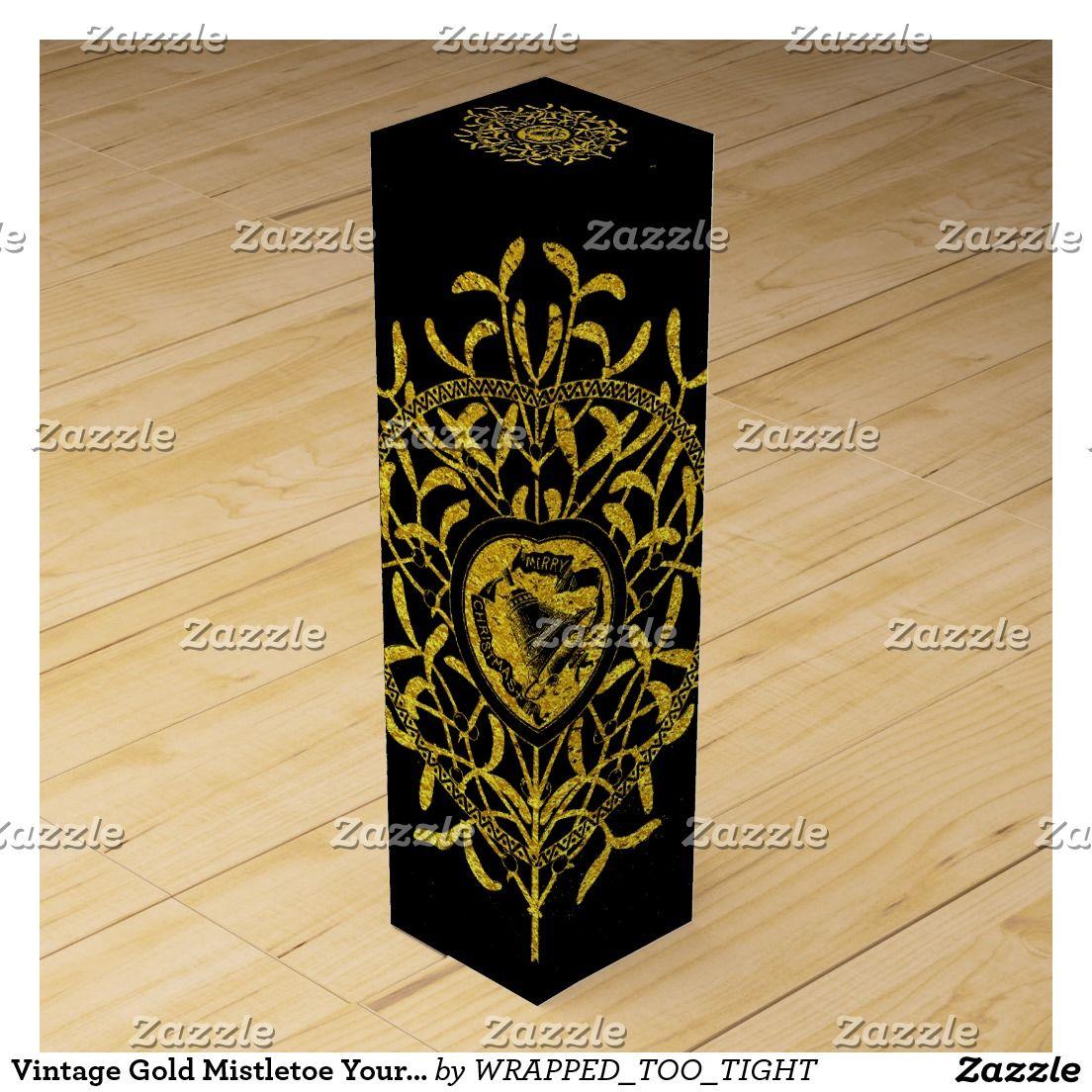 Vintage Gold Mistletoe Your Background Color Wine Box