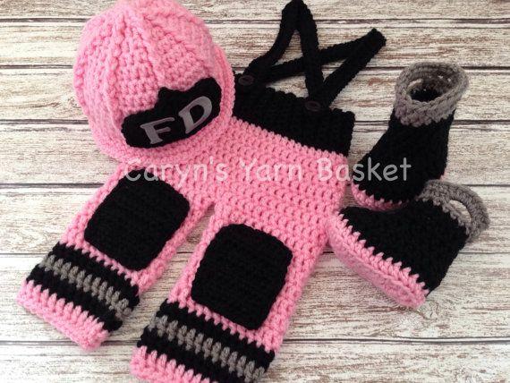 Photography Prop 0-3 Made To Order Hat and Boots Crochet Newborn ORIGINAL DESIGN Baby Girl Fireman Firefighter Skirt Set 3-6