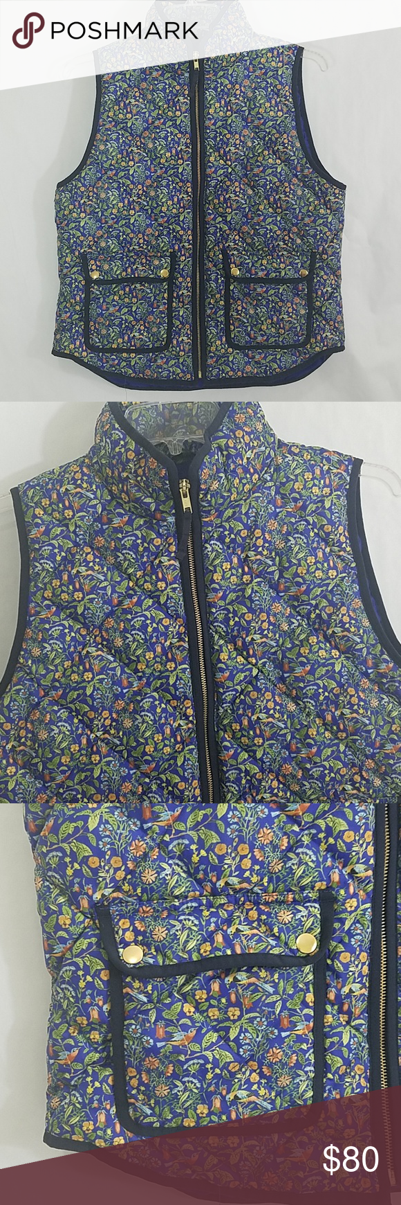 095db50d38 J Crew Liberty Fabric Quilted Down Vest Blue floral vest made from ...