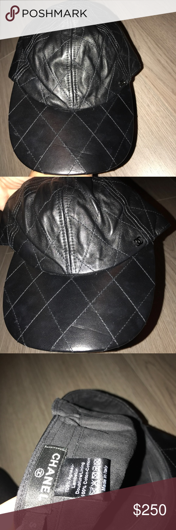 Chanel leather quilted hat authentic 100% auth Chanel all leather ball cap  bought in the Chanel store in Las Vegas will make a great holiday gift size  small ... db2531f6623