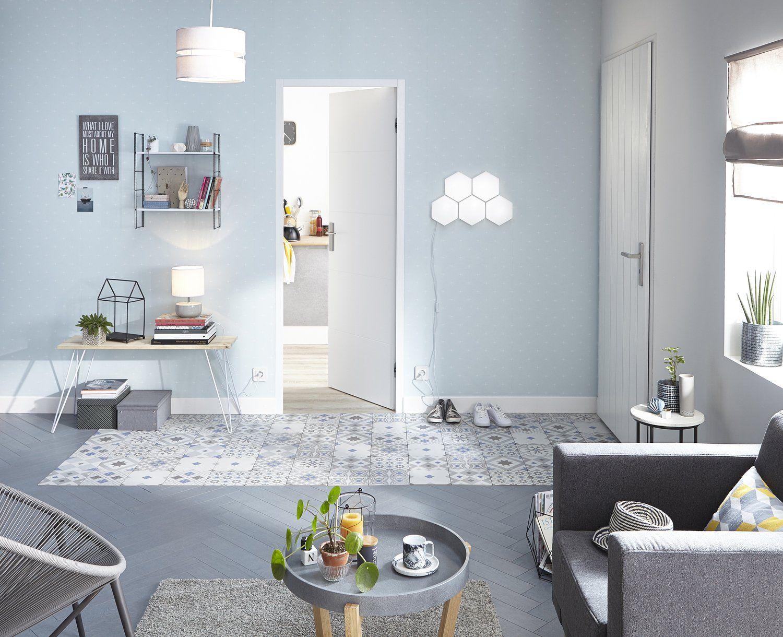 couloir entree salon sejour bleu gris argent artens contemporain actuel salle de bain. Black Bedroom Furniture Sets. Home Design Ideas