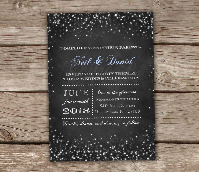 Starry Night Chalkboard Wedding Invitations & RSVP by chitrap ...