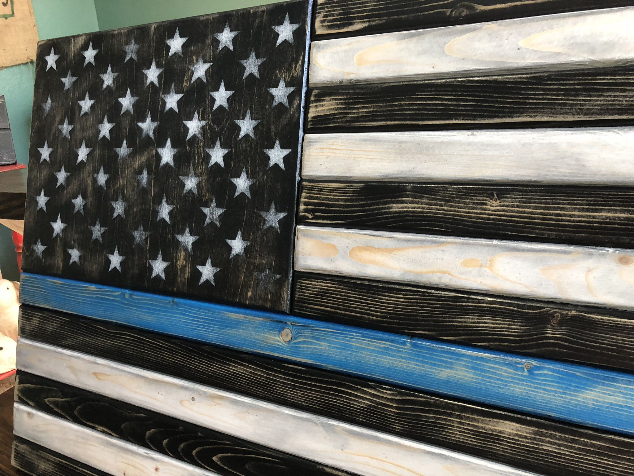 Thin Blue Line Flag Distressed Home Decor Office Decor Police Decor Police Gift Flag Wall Art Police Office Blue Line Flag Flag Art Rustic American Flag
