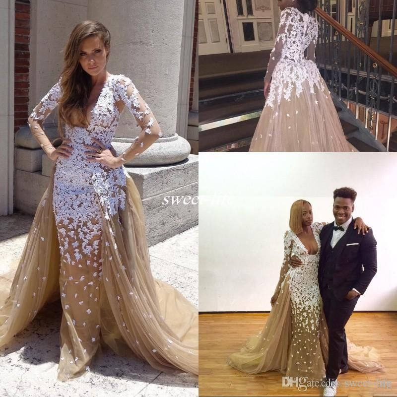 Zuhair Murad Champagne Prom Dresses Sexy Deep V-Neck Lace Mermaid Detachable Train 2017 Cheap Long Sleeves Pageant Evening Gowns Celebrity Prom Dresses Zuhair Murad Evening Dresses Online with $169.0/Piece on Sweet-life's Store | DHgate.com