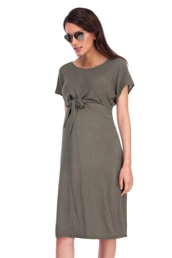 Umstandskleid mit Knoten-Details khaki | Umstandskleid ...
