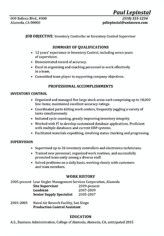 Inventory Manager Resume Functional Resume Sample Inventory Control Supervisor  Inventory .