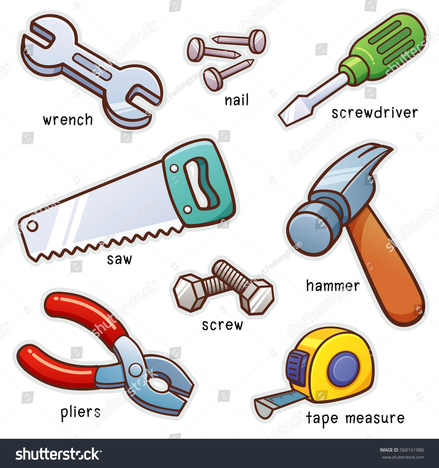 Vector Illustration Of Vocabulary Tools Set