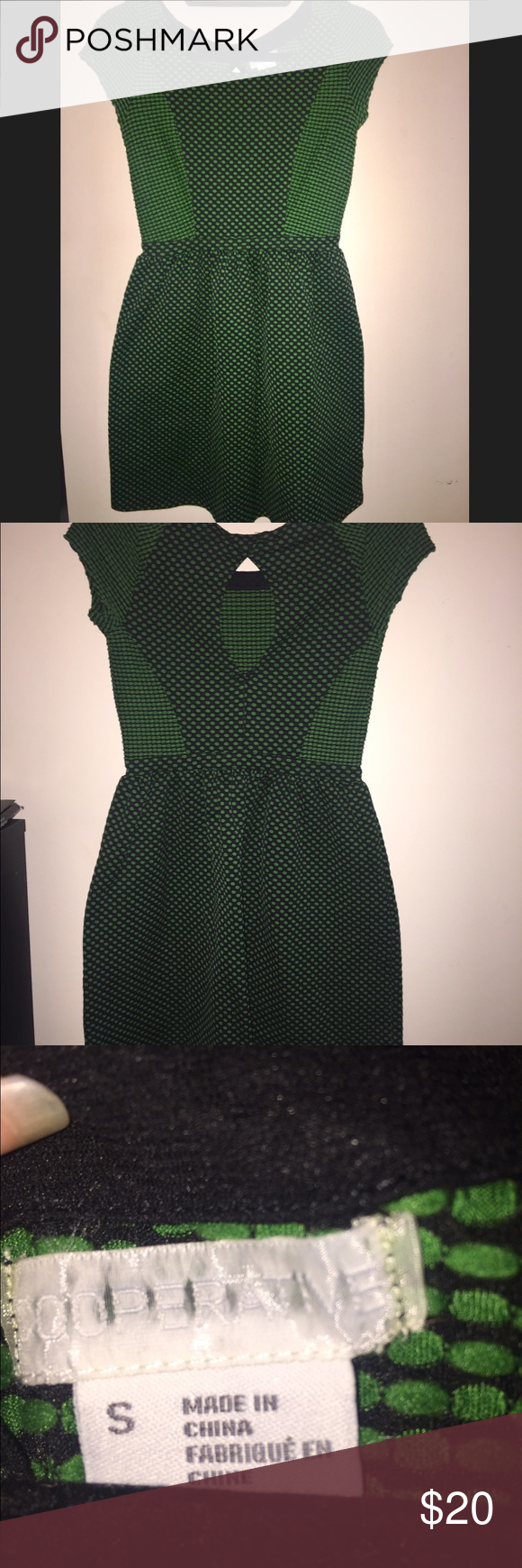 Urban Outfitters Cooperative Green Black Dress Urban Outfitters Cooperative Green and black polka dot dress with a keyhole back in a size small. Super cute with some sandals or heels! Urban Outfitters Dresses Mini