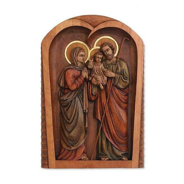 NOVICA Cedar relief panel ($246) ❤ liked on Polyvore featuring home, home decor, wall art, art gallery, brown, religious, sculpture, wood - relief panels, leaf wall art and jesus sculpture