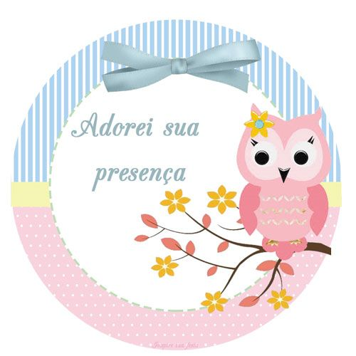 Corujinha Rosa E Azul Kit Festa Gratis Para Imprimir Cha De Bebe