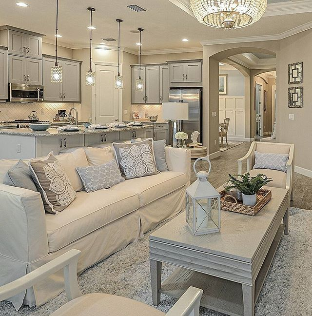 Love All The Grey Cream Tones In This Lovely Taylor Morrison Fl Home Via Taylormorris Living Room Decor Cozy Cream Living Rooms Cozy Living Room Design