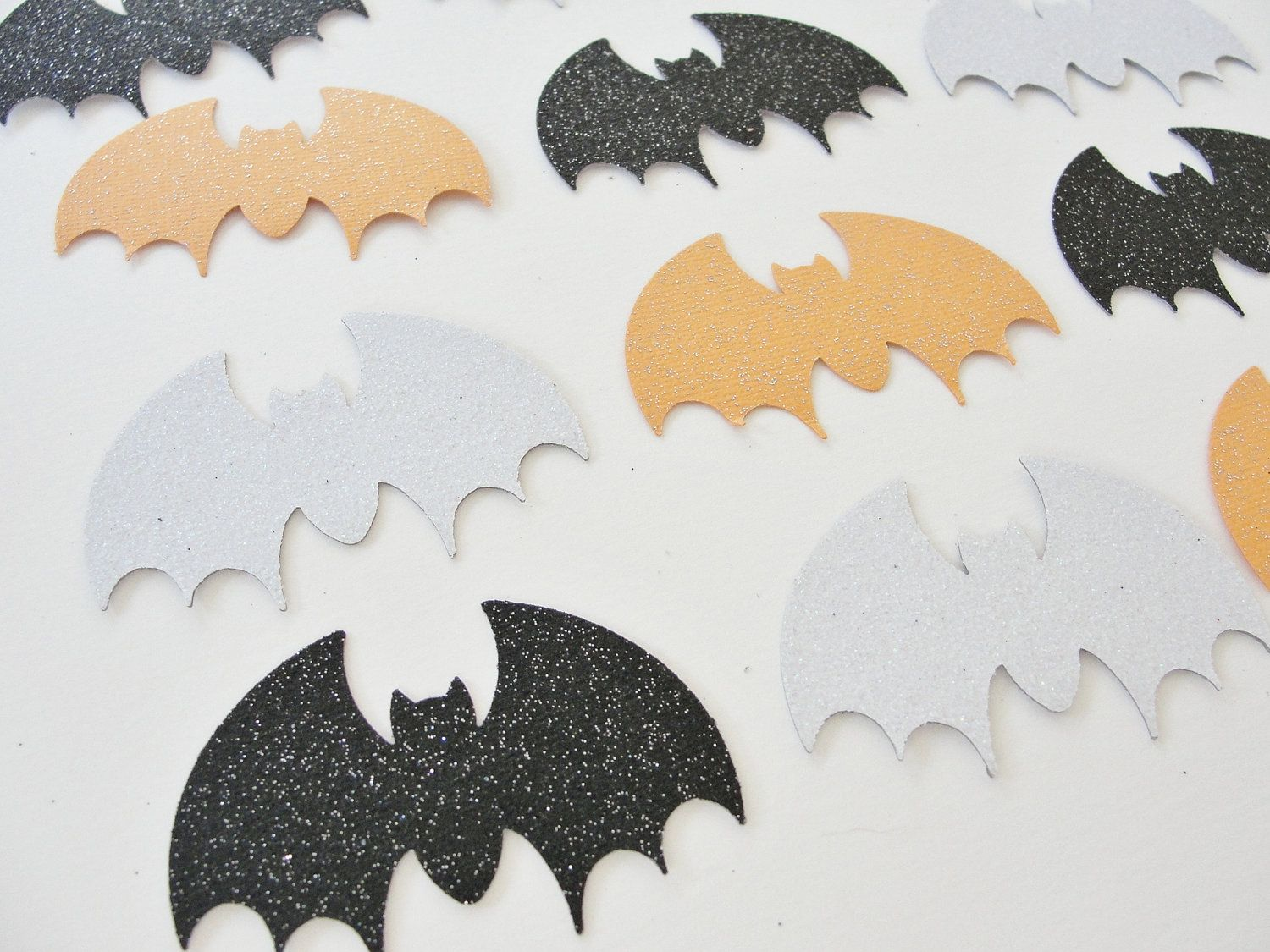 Halloween Bat Cutouts, Black White Orange Glitter Bats, Paper Bat ...