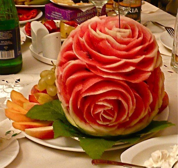 Watermelon Rose Fruit carving