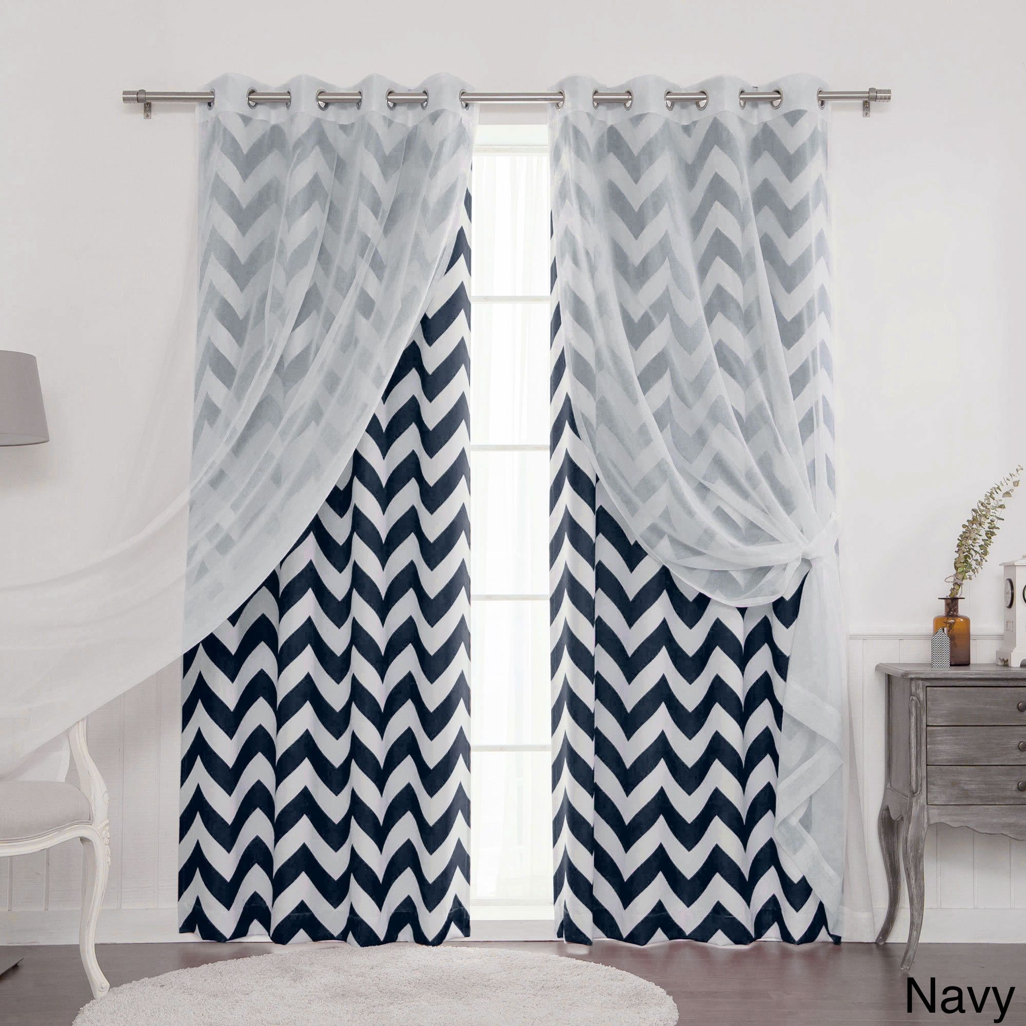 Aurora Home Mix Match Muji Sheer Chevron 4 Piece Curtain Panel Set 52 W X 84 L Home Decor Outlet Curtains Home Decor
