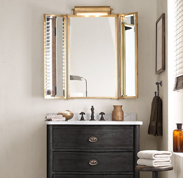 Tri Fold Lit Wall Mirror Restoration Hardware