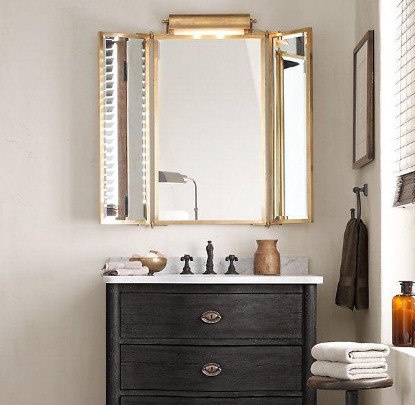 Perfect Tri Fold Lit Wall Mirror Restoration Hardware