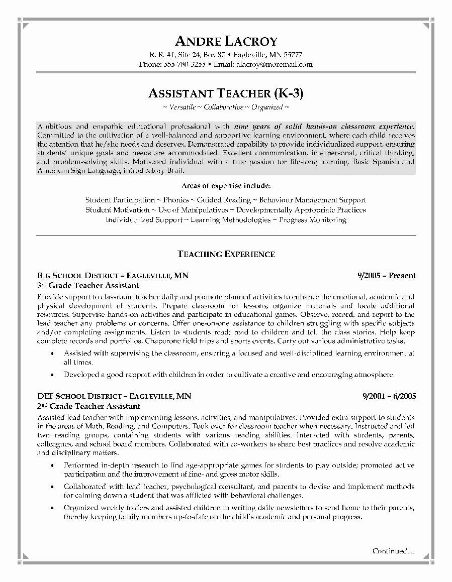 23 Teacher Assistant Resume Examples In 2020 Teacher Resume
