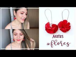 Cómo hacer Aretes de MODA con Flores de tela roja