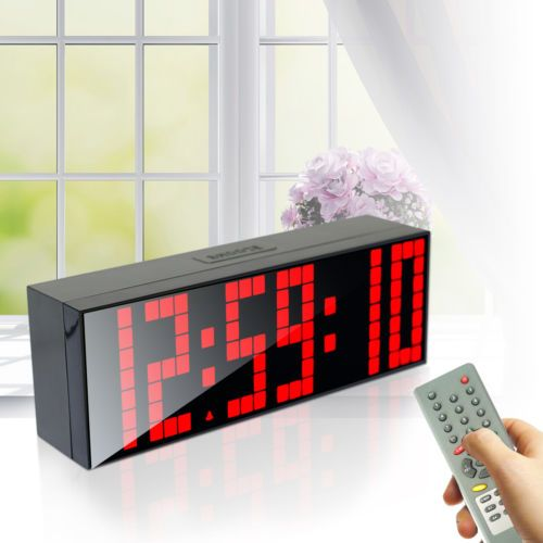 Large Big Screen Remote Led Digital Wall Clock Dual Alarm Watch