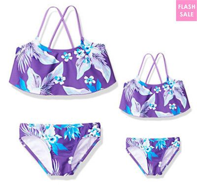 73c6e51723ffb Family Matching Swimwear Mother Daughter Womens Kids Girls Swimsuit Bikini  Set
