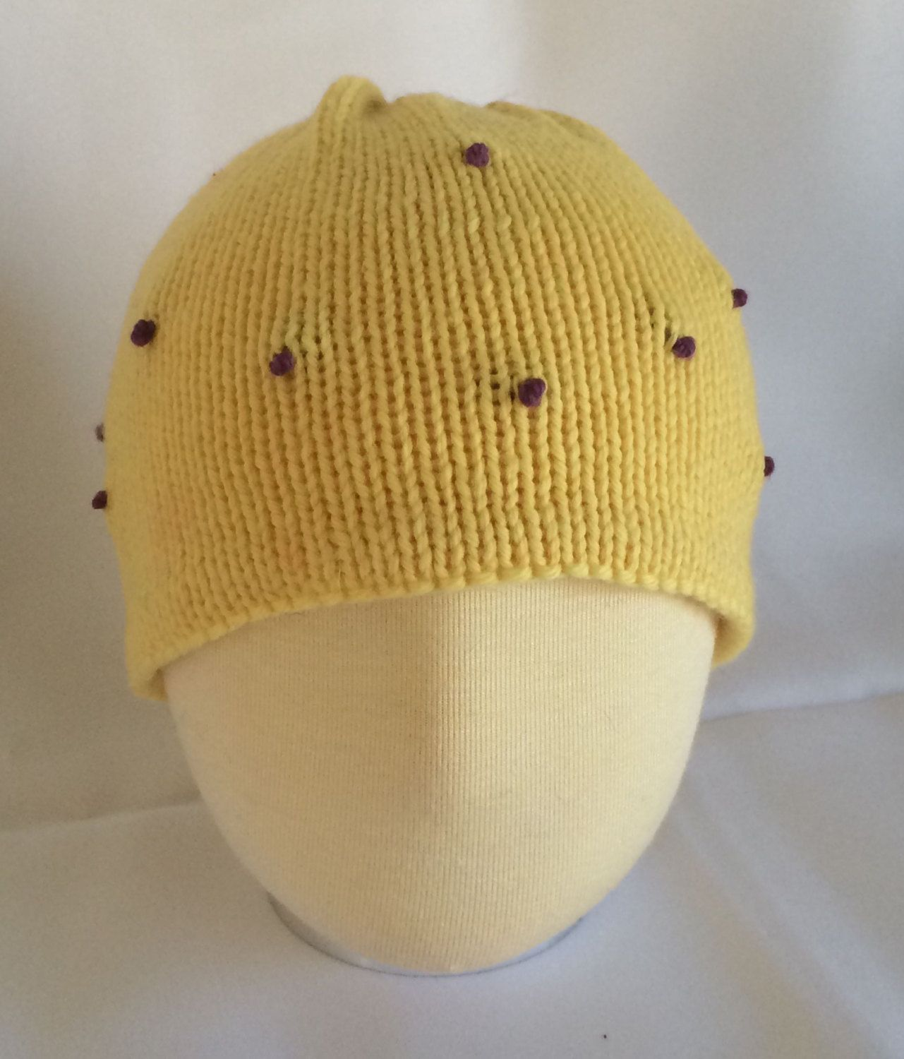 Hand Knit Girl's Hat Knitted Hat Yellow Knit Hat Girl's Flapper Hat  Embroidered Knit Hat Hand