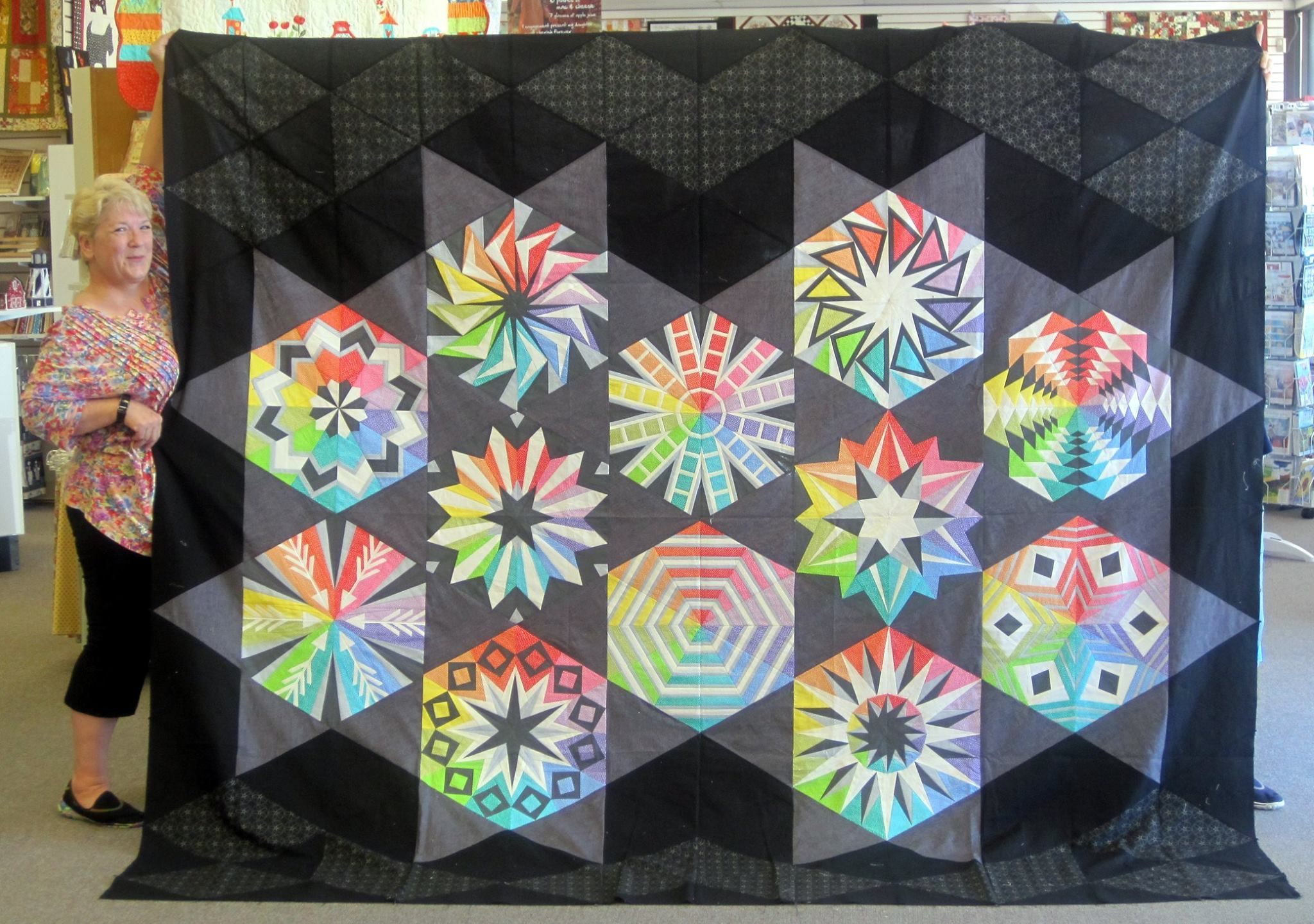 Check Out Jo Lyn S Arcadia Avenue Quilt Her Background Really Makes The Blocks Pop Colorful Quilts Quilt Patterns Paper Piecing