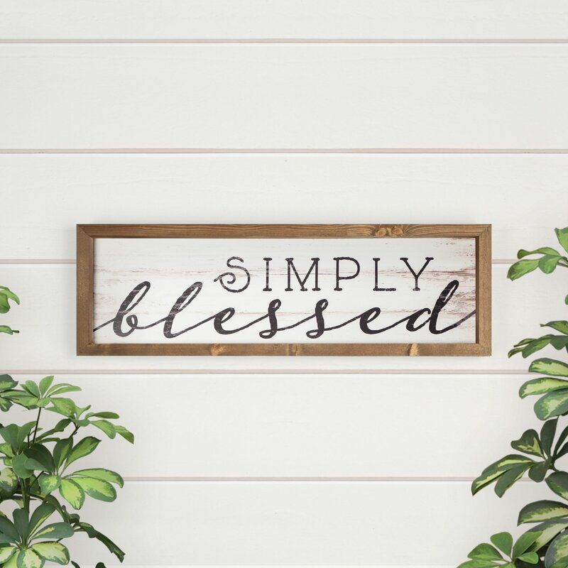 Simply Blessed Graphic Art Print On Wood Heart Wall Decor Christian Wall Decor Heart Wall