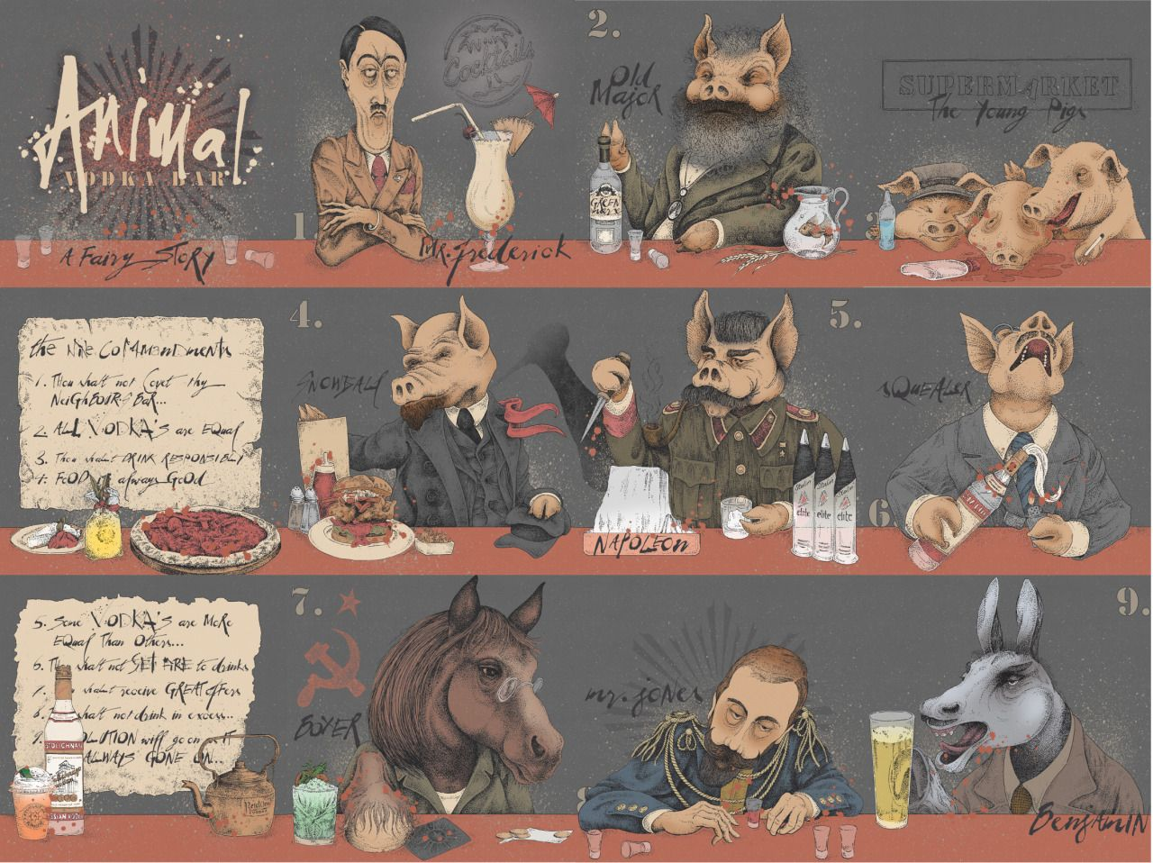 "animal bar a fairy story "" large format artwork composition based  ""animal bar a fairy story "" large format artwork composition based on the animal farm allegory of the russian revolution by george orwell for revolution"