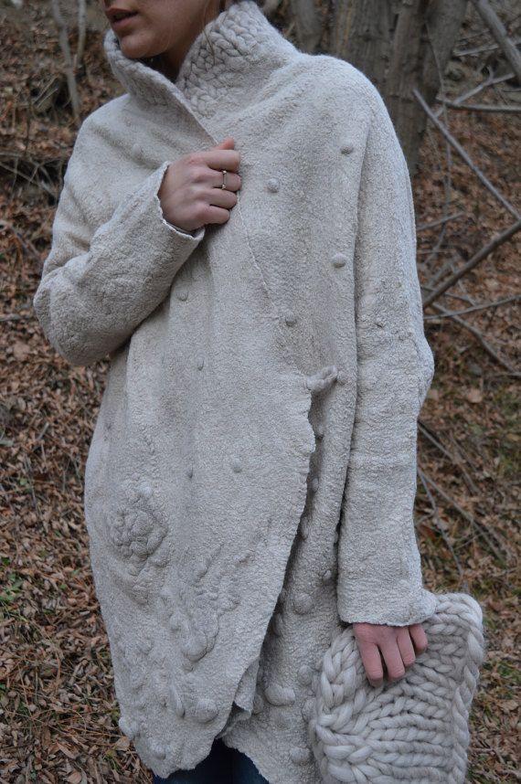Women coat, wearable art, nuno felted coat, designer coat, Hand made, felted jacket, eco-fashion, light beige coat, merino wool, boho