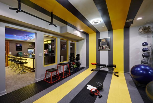 Basement home gym and bar with colorful stripes tanyas favs
