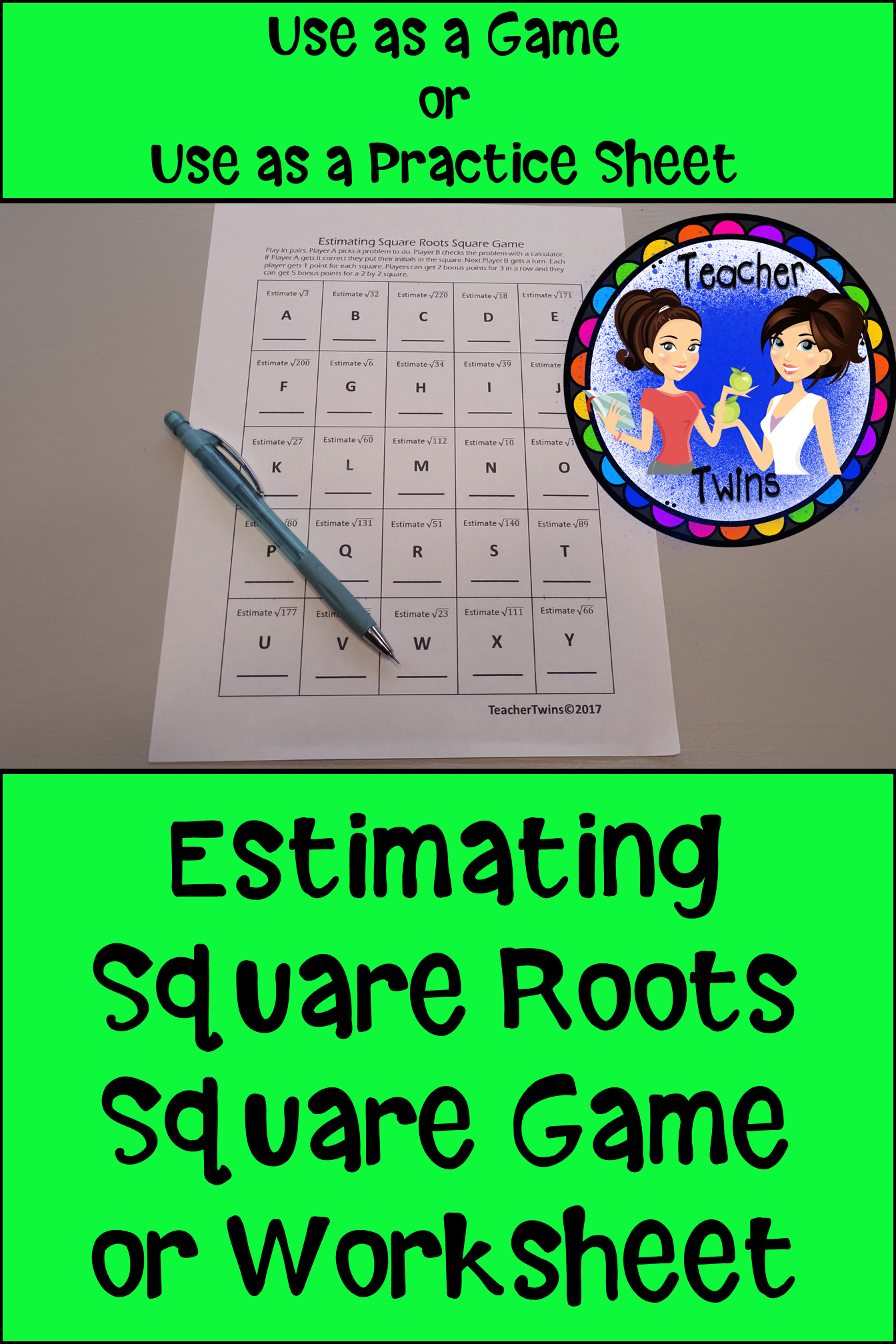 Estimating Square Roots Square Game Worksheet