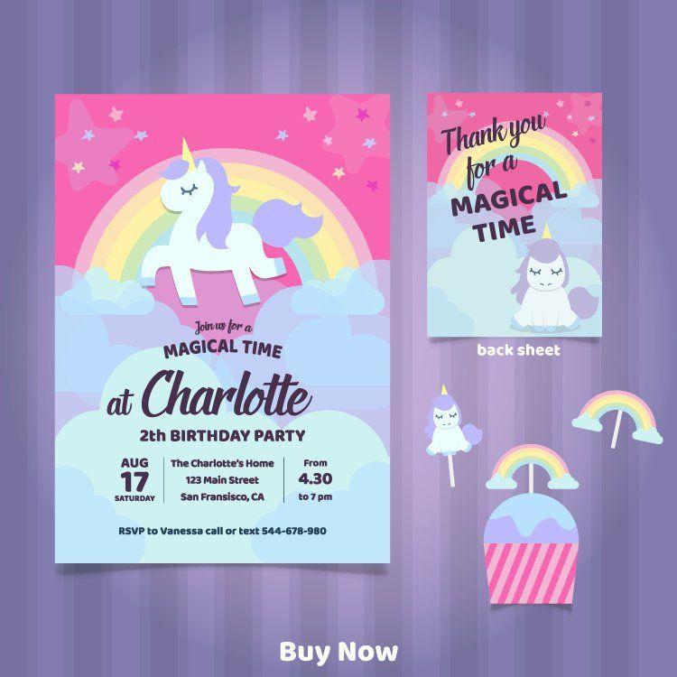 unicorn birthday invitation unicorn invitation kids  etsy