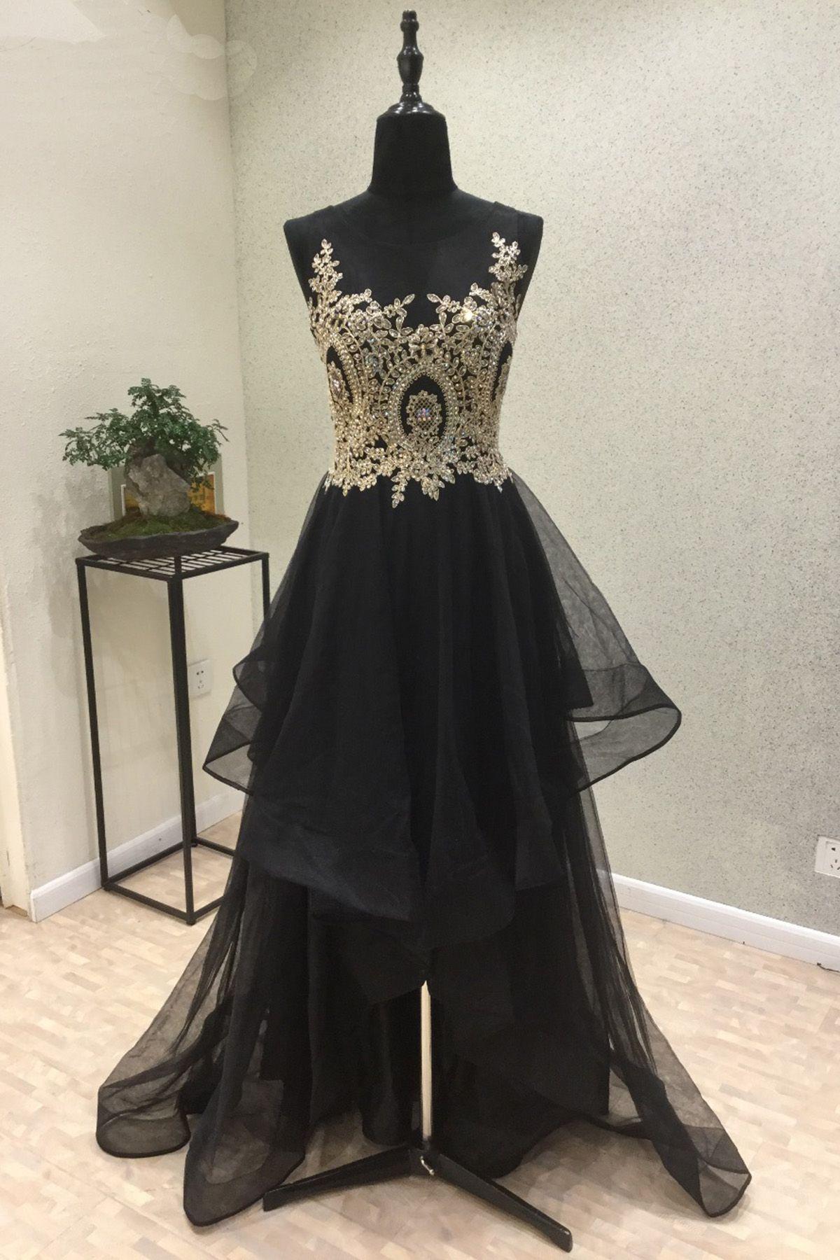 Cute lace top black organza prom dressball gown prom dresses