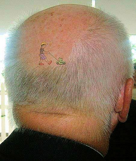 The Lawnmower Man: tattoo of a man moving this guy's hair ...