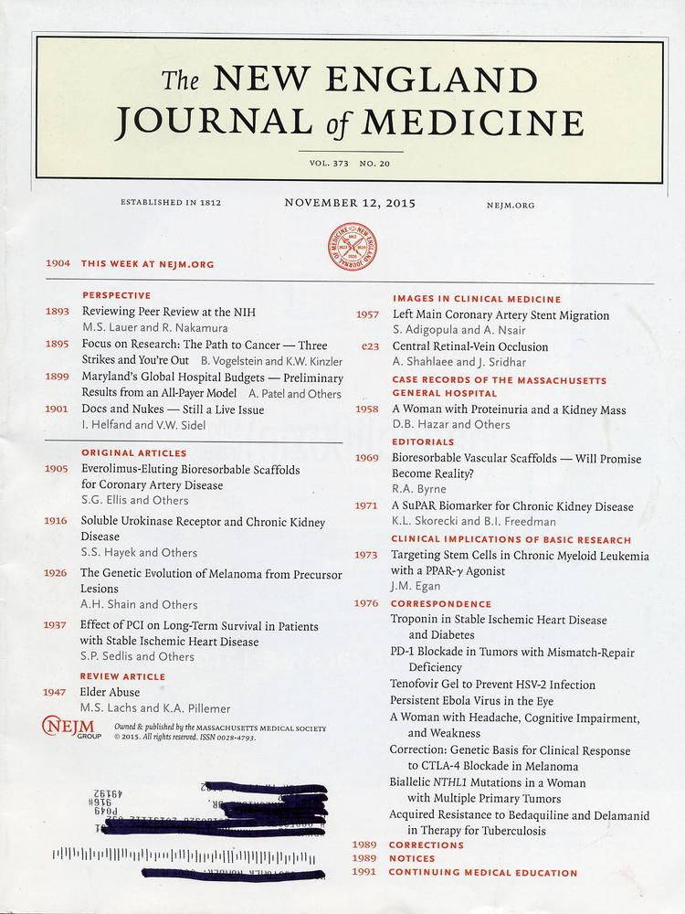 November 12 2015 The New England Journal Of Medicine Vol 373 No 20 Medicine Journal Medicine New England