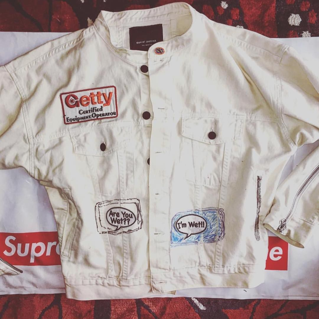 customized oversized denim jacket //  ig: strike_oil