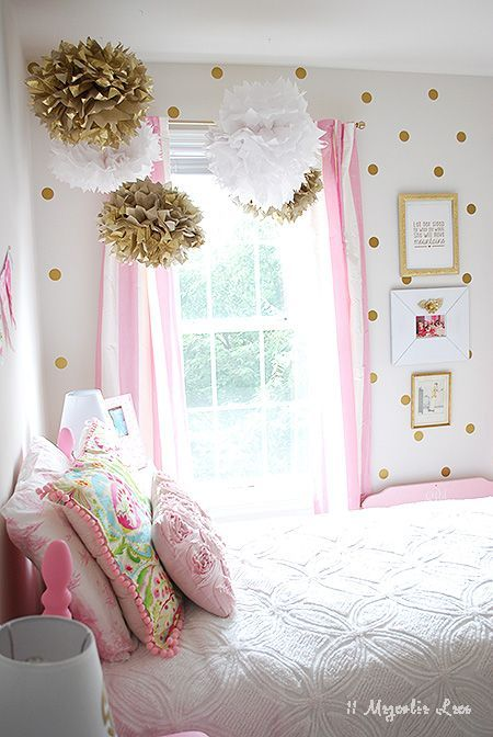 little girl's room decorated in pink, white & gold | pink white