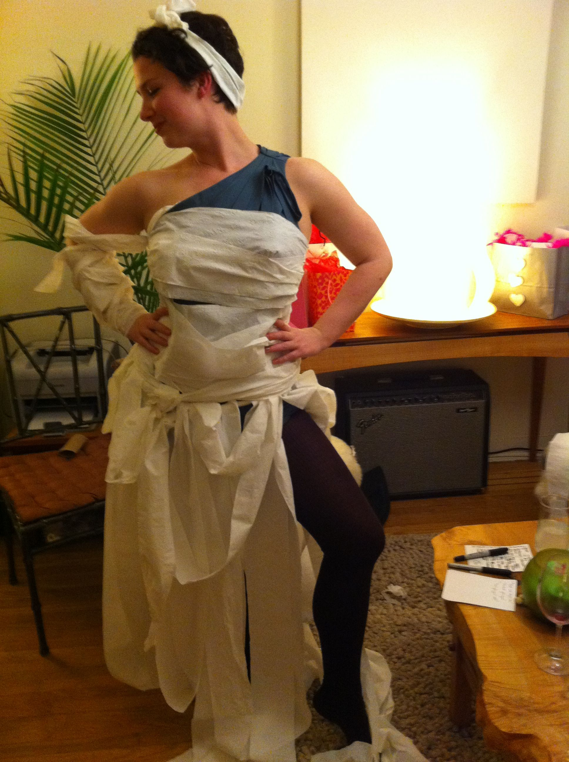 Make me a wedding dress  Toilet paper wedding dress  made at my friends bridal party guess