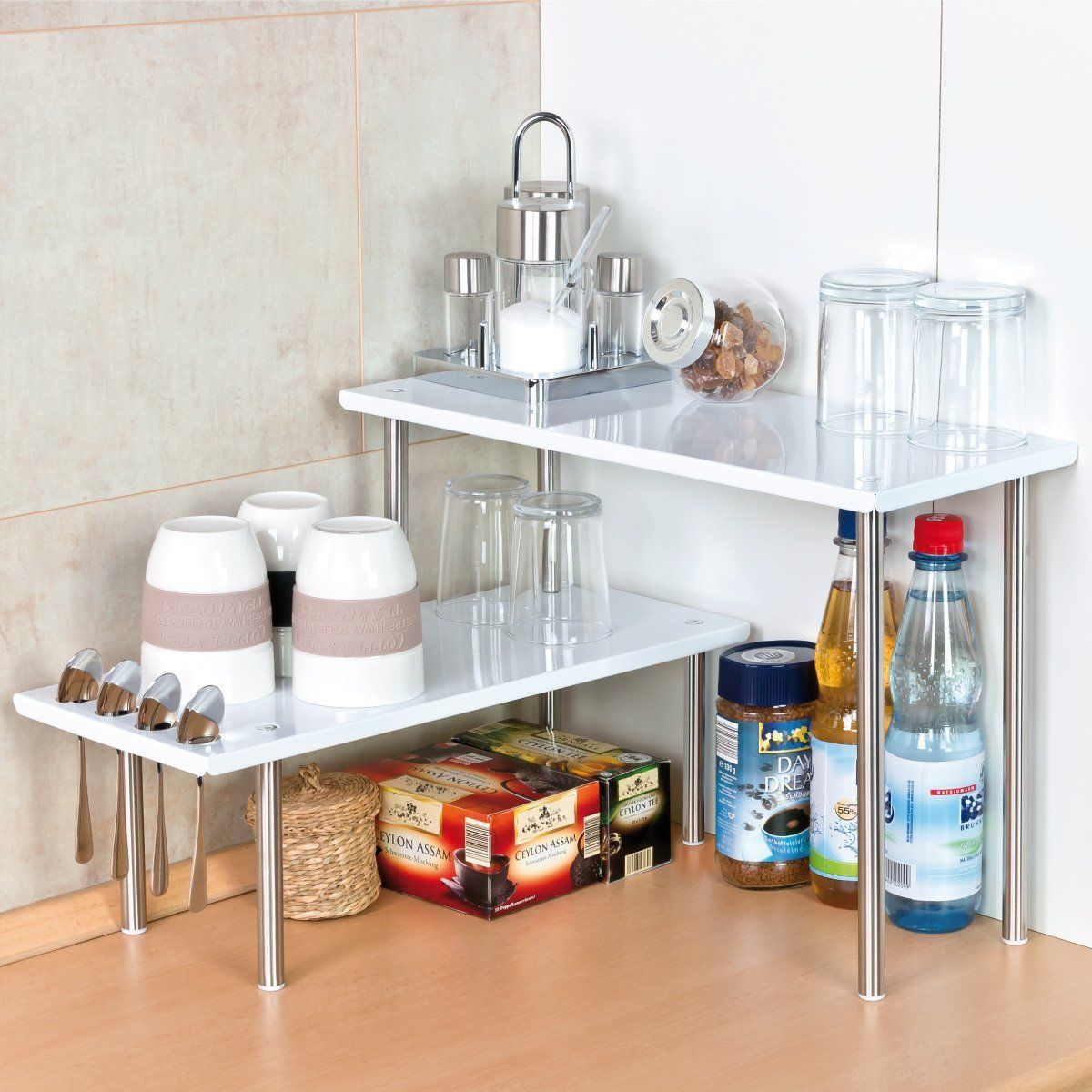 Bremermann® Kitchen Corner Shelving Unit, Kitchen Shelves, Spice ...