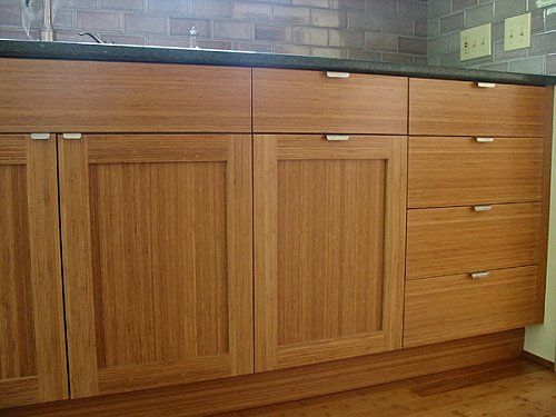 Bamboo Cabinets For The Bathroom Master And Main But Minus The Handles Don T Like These Hand Bamboo Cabinets Bamboo Kitchen Cabinets Shaker Kitchen Cabinets