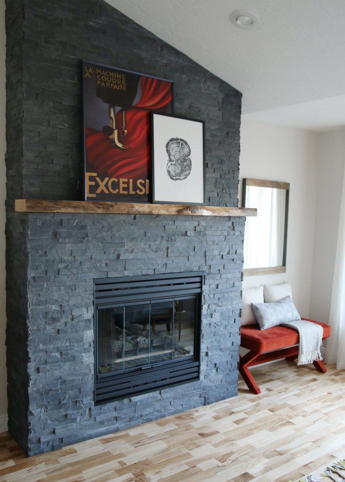 Stacked Stone Fireplace Makeover Stacked Stone