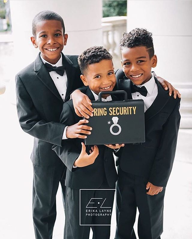 The most adorable ring security ever! Photo by @erikalaynephoto / @completelyyours #GroomInspiration #Groom #GroomsMan #GroomsMen #BridalParty #SuitAndTie