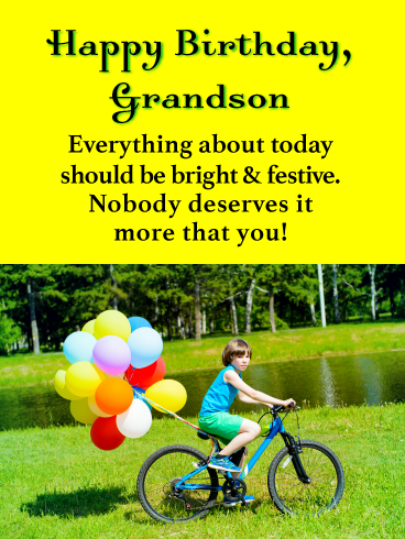Bright Festive Happy Birthday Card For Grandson Birthday Greeting Cards By Davia Happy Birthday Wishes Cards Grandson Birthday Wishes Special Birthday Wishes