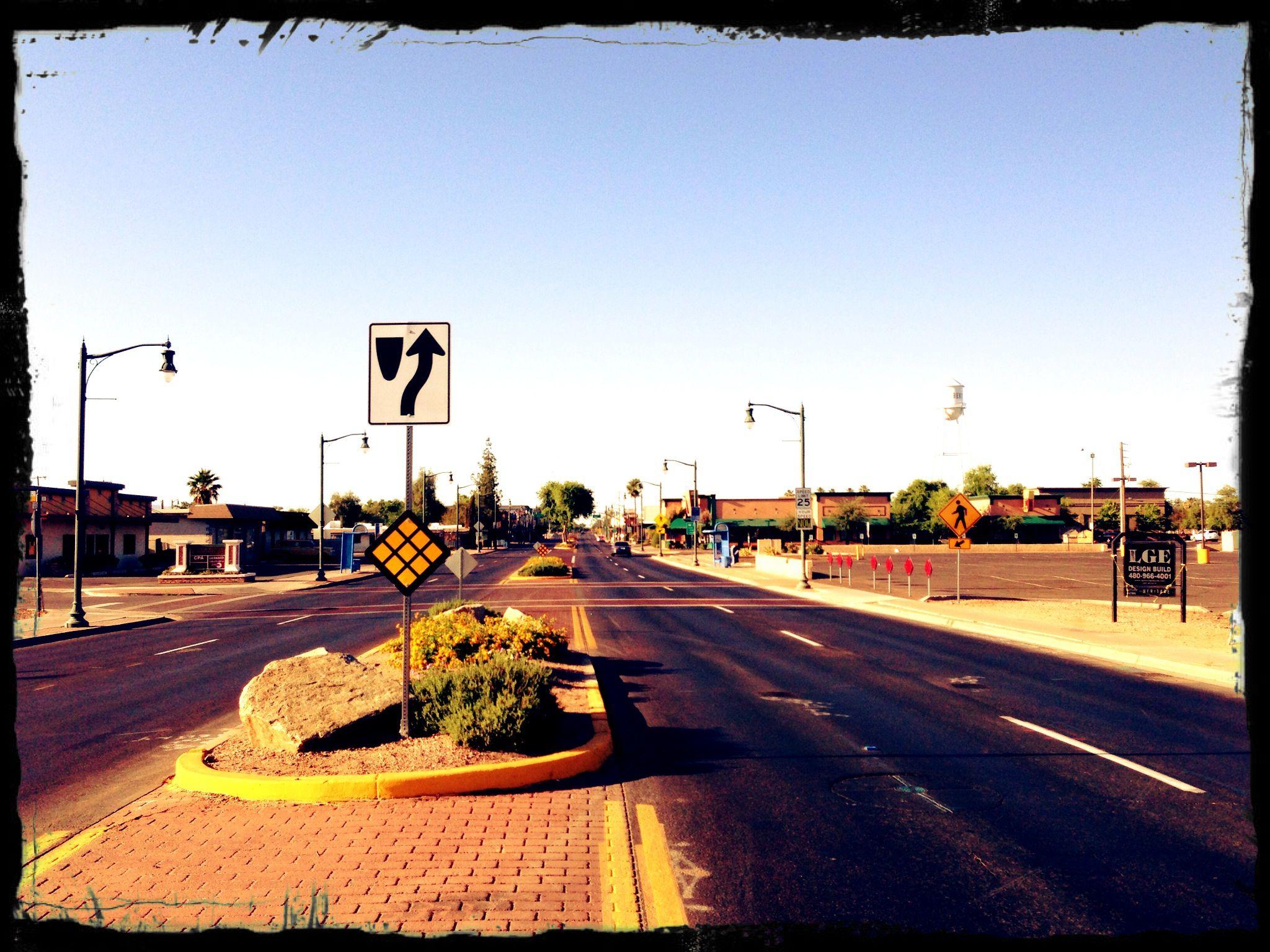 Downtown Gilbert, Arizona on a warm May morning. Arizona