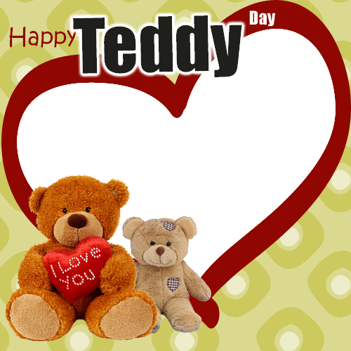 Happy Teddy Day Valentine Frame Generator For Love Couple.Create ...